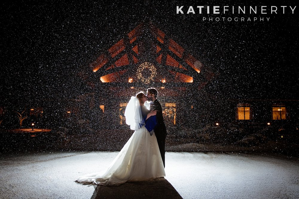 Dramatic Backlit Winter Snow Wedding Photography