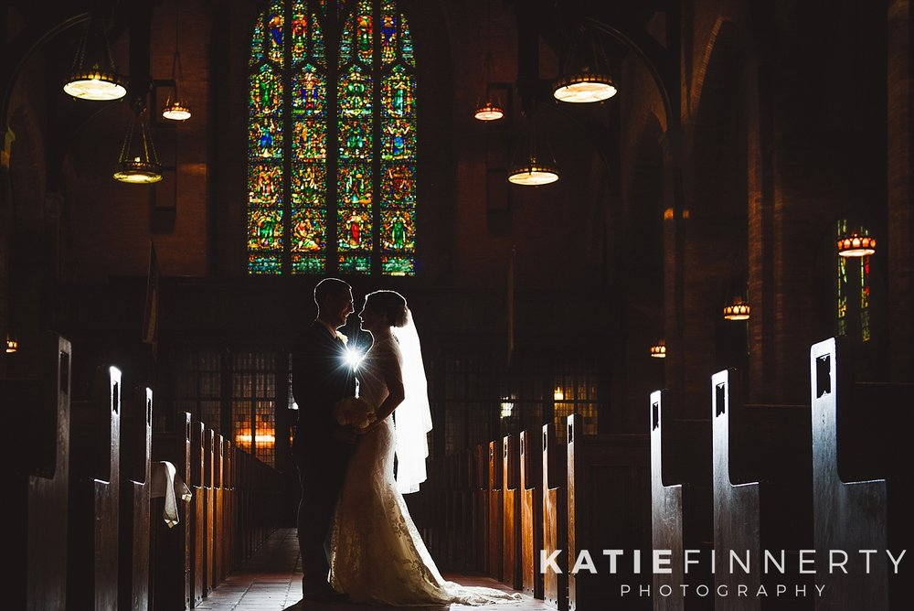 Backlit Church Stained Glass Wedding Photography