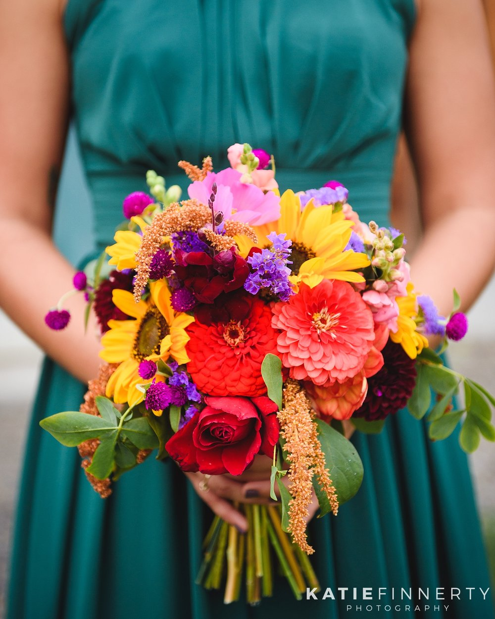 Colorful Fall Bridesmaid Bouquet Wedding Photography
