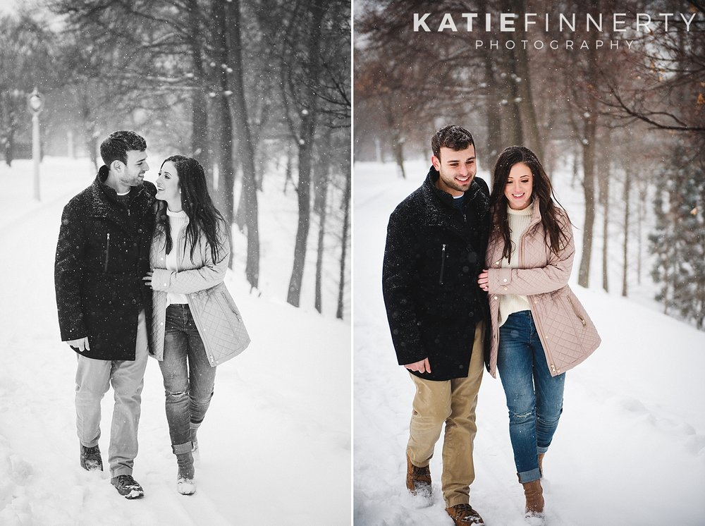 Highland Park Rochester Winter Snow Engagement Session