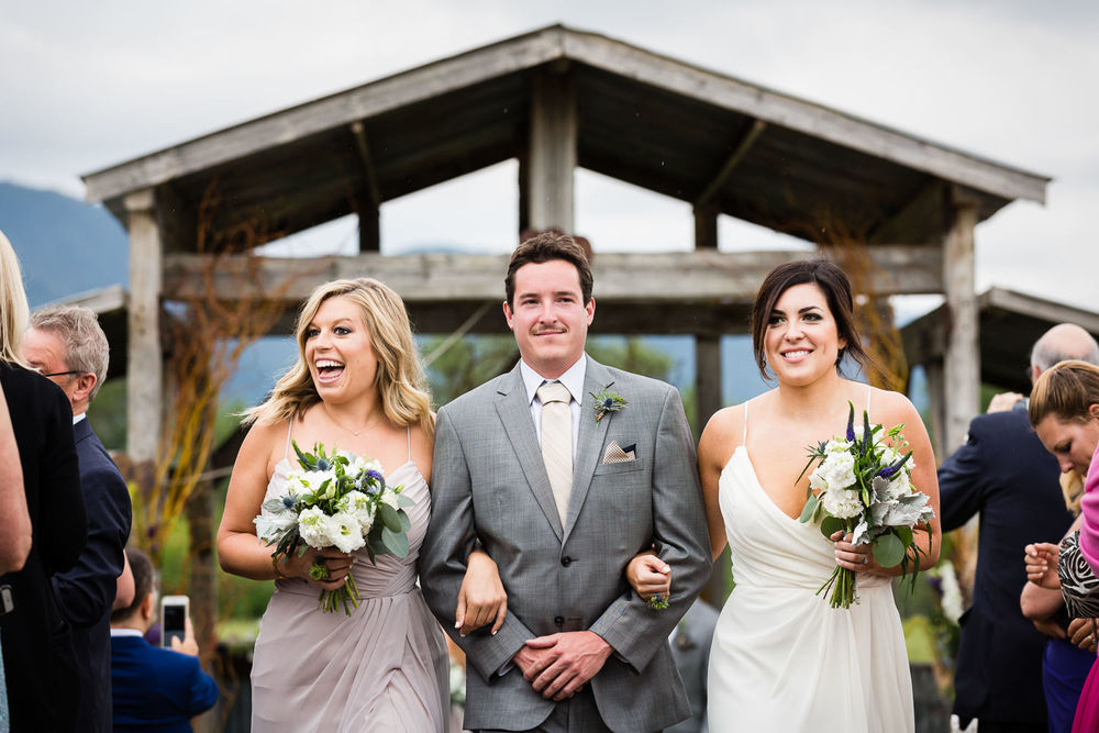 bozeman-hart-ranch-wedding-two-bridesmaids-one-groomsman-recessional.jpg