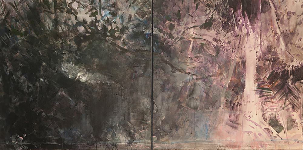 Jungle Dreaming (Bird) Diptych,  acrylic on canvas, 30x60  2014