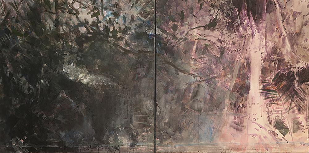 Jungle Dreaming (Bird) Diptych, acrylic on canvas,30x60 2014