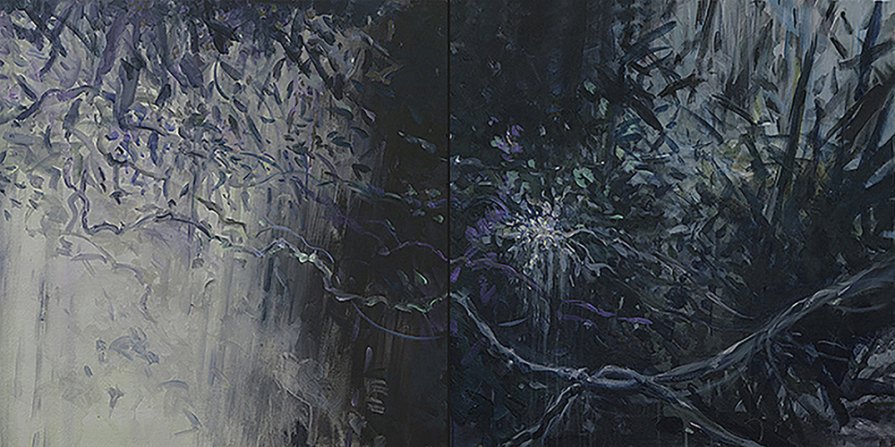 Waterfall Diptych 2, acrylic on canvas, 30x60 2014