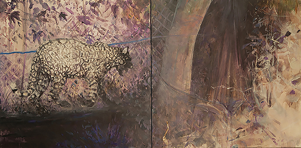 Jungle Dreaming (Leopard) Diptych, acrylic on canvas, 30x60 2014