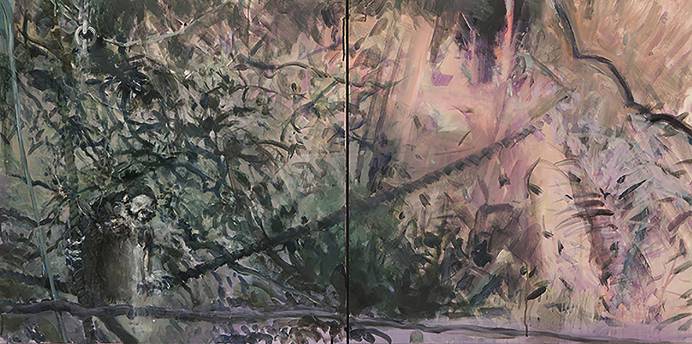 Jungle Dreaming (Monkey) Diptych, acrylic on canvas, 30x60 2015