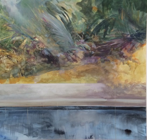 Costa Rica Wind in Trees with Pool 1 ,  acrylic on canvas,  48x48  2015