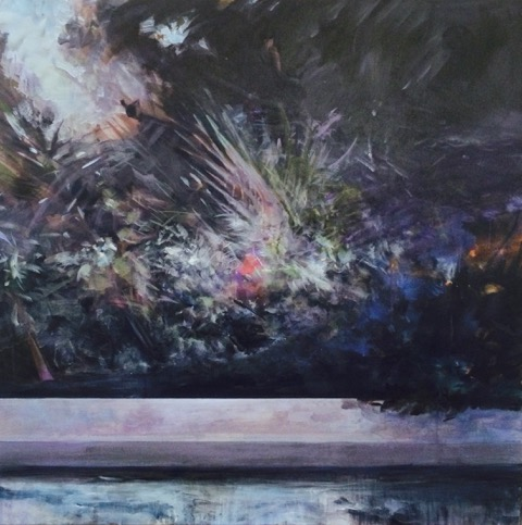 Costa Rica Wind in Trees with Pool 2  , acrylic on canvas, 48x48   2015