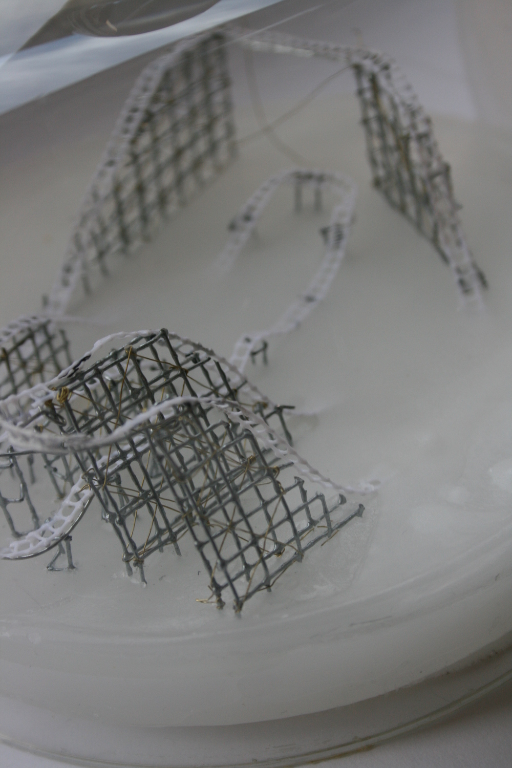 "Katie Dillon Low,  The Surge , paraffin, hardware, cloth, plastic mesh, metallic threads, glass dome 6"" x 6"" x 6"""