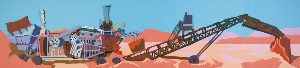 "Joseph Opshinsky,  Red Ash Mover , cut paper collage 50"" x 11"""