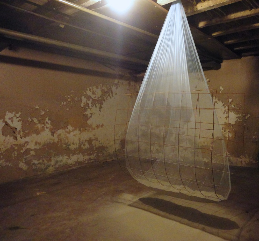 Dot Vile,  Cradle , Tulle, reinforced steel, powdered cement, hardware 7' x 4' x 3' 2013