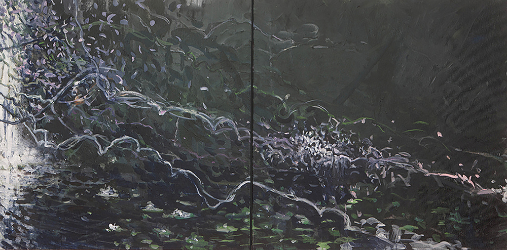Jungle Vines with Waterfall Diptych 3, acrylic on canvas, 30x60 2015