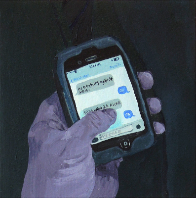 "Text , acrylic on board ,  10"" x 10"" 2015."