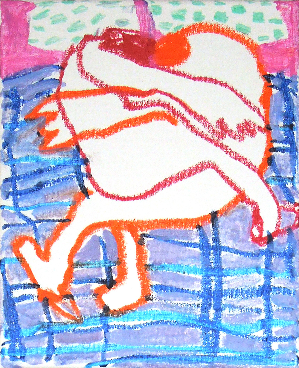 "Sleeping Together Sketch #6 , tempera stick on canvas, 8"" x 10"" 2015."