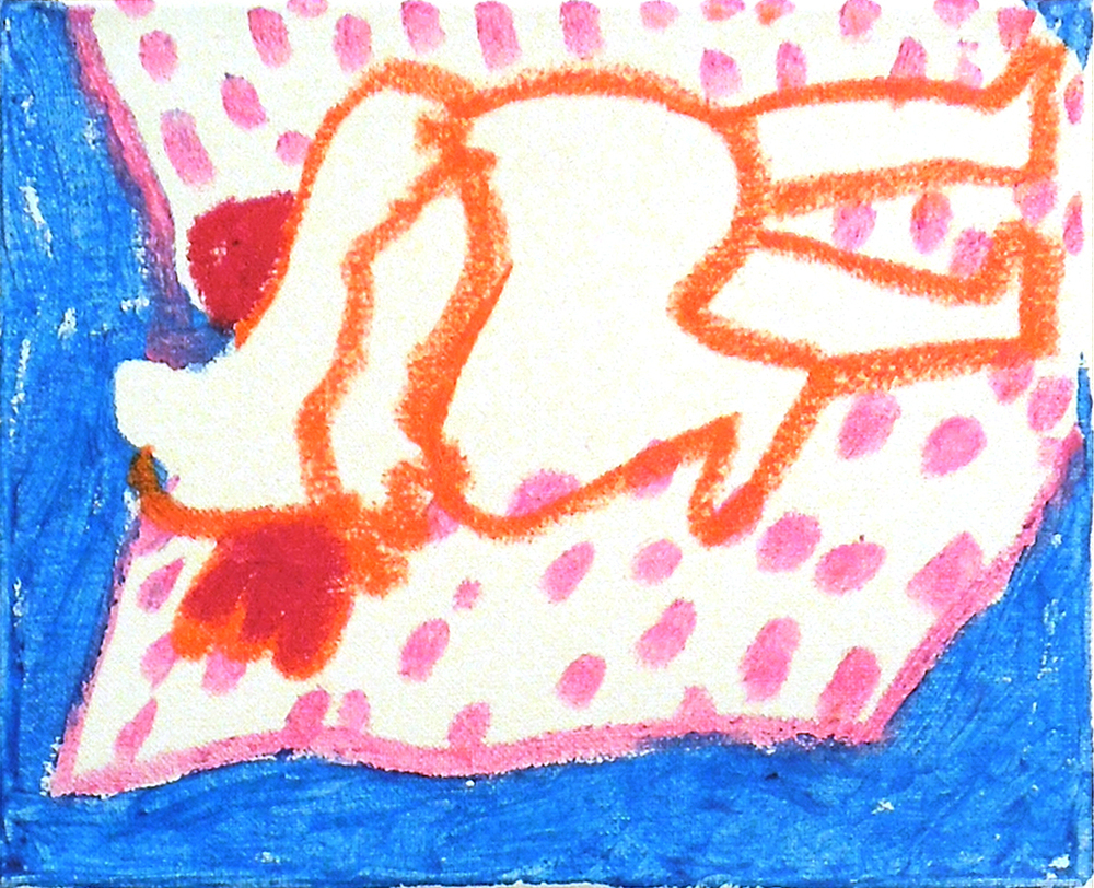 "Sleeping Together Sketch #11 , tempera stick on canvas, 8"" x 10"" 2015."