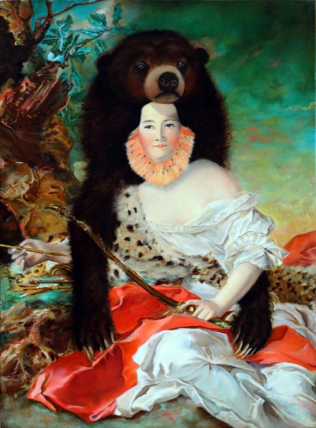 """Madame Bonier de la Moson Luxuriates in the Protective Embodiment of Sun Bear; his Hibernation-Harnessed Fortitude Lends Her a Lack of Poise Needed to Play Diana the Huntress , oil on linen, 14"""" x 20"""" 2015."""