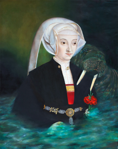"""Lady Receives Guidance while Riding Liberation Generated Emotional Waves; Walrus' Hug Ensures Endless Flow of Divine Love as Evidenced by Red Carnation; she Calculates her Stores of Affection , oil on panel, 16"""" x 20"""" 2014."""
