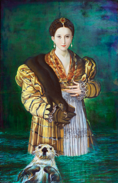 """Sea Otter Shepherds Antea out of Heartbreak into Forward Motion; Ripples Carry Audacity of Choosing Lovers out through the Ages; Her Courage Expanded by that of Foremothers' Elemental Challenges , oil on linen, 12.75"""" x 20"""" 2014."""