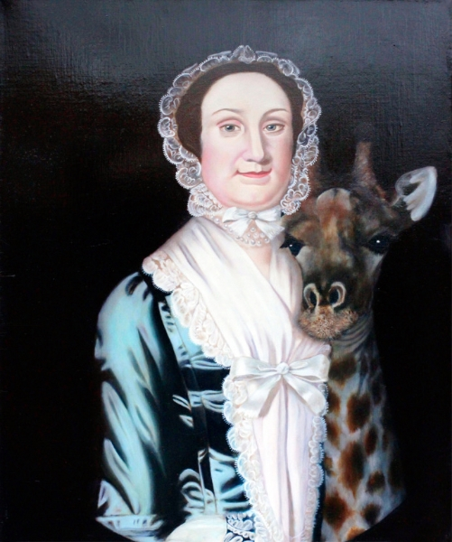 """Anna French Reade Gains Perspective and Displays her Warmth in a Reassuring Cuddle with a Rothschild Giraffe , oil on linen, 16.75"""" x 20"""" 2014."""