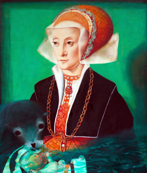 """Seal Flirts with Innocent Apple while Lady Mourns her Rigidity; Seal and Lady Are Bound Having Saved One Another in the North Sea , oil on panel, 17"""" x 20"""" 2014."""