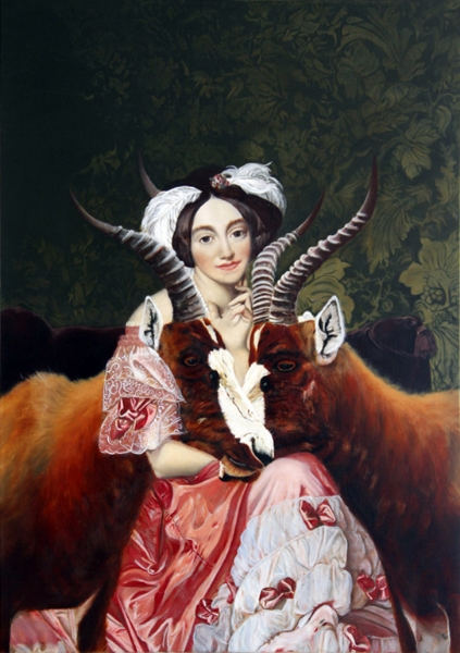"""Bound and Protected by Blessbuck Couple Who Allow Her to be in Two Places at Once, Betty de Rothschild Serves as Shamanic Procurer of Power Animals and Hostess, on Safari , oil on linen, 14 3/4"""" x 20"""" 2014."""