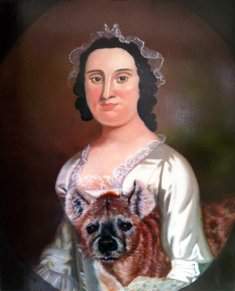 """Spotted Hyena Brings Lightness, which Yields Resilience and Understanding, to Rachel Levy Seixas by Mimicking her Laughs and Cries , oil on linen, 16.75"""" x 20"""" 2014."""