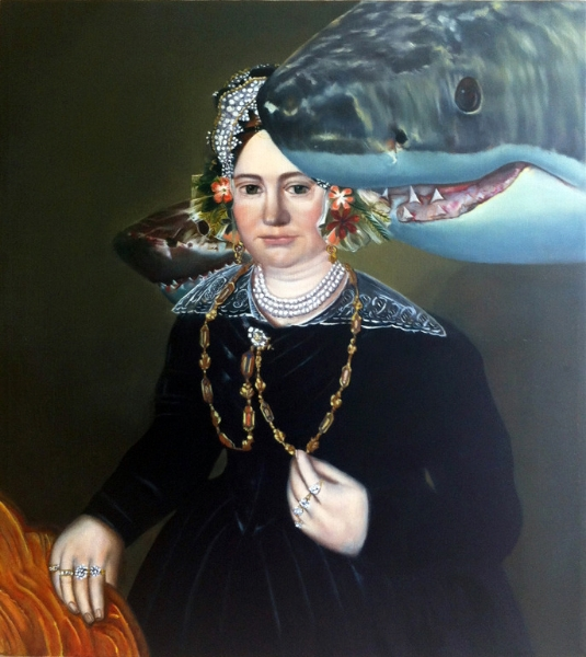 """Mrs. Israel Mintz and Shark Protectors who Guard her Jewels and Remind her to Celebrate her Meanness, Wealth, and the Opportunities that it Affords her; Rows of Teeth Mimic Rows of Pearls and Fend off Guilt and Greedy Predators , oil on linen, 17 7/8"""" x 20"""" 2014."""
