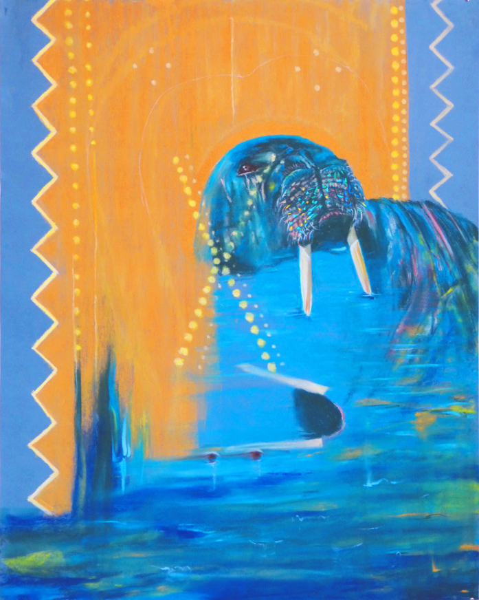 """Dance: Teeth-Banner Proudly Displays Vulnerable Courage of Loving Walrus; Lady Keeps Watch for Predators in Slightly Choppy Flow; Affection Ebbs as she Fears Trust Will Betray her; Teeth Correct her Fearful Watch to Maintain Flow in Space In between Banner and X  pastel and metallic paper on paper,34"""" x 42""""2016."""