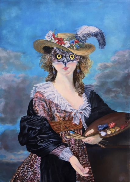 """Pirate-Eyed, Horned-Owled Elizabeth Vigee Le Brun,  Portraitist for Marie Antionette, Portraying Herself, Inspired by Rubens, as Racily Open-Mouthed, Imbued with the Power of her Prey, Bluejay and Hare, Whom she/Owl has Consumed so she May Rise in the Night Sky for a Magical Flight and Better View of Future Prey,  oil on line,  14 1/2"""" x 20"""" 2016."""