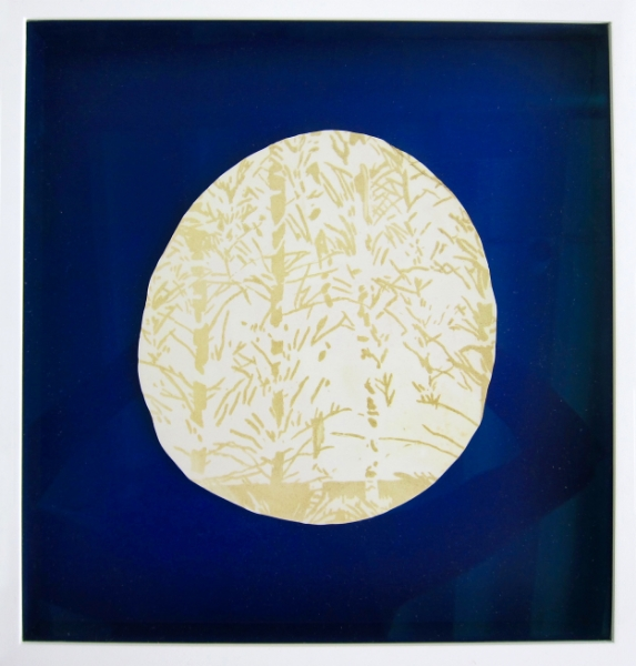 "Sacrifice, etching on plaster with gold powder mounted on aquatinted paper, 12.25"" x 11.75"" 2015"