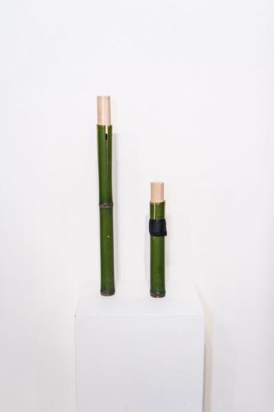 "AL, wood, bamboo, 2.25"" x 2.25"" x 31.5"" 2015 LA, wood, bamboo, plaster of paris, 2.25"" x 2.25"" x 18.25"" 2015"