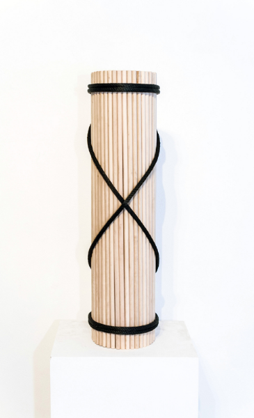 "fasces, wood, cardboard, polyester, found object, 10"" x 10"" x 64 2015"