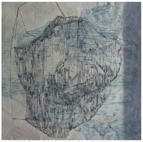 "Wayward , drypoint & monotype on handmade Abaca paper, 48"" x 44"" 2015"