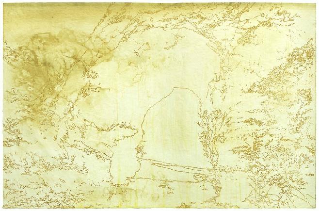 "Flood, drypoint & monotype on Kozo paper, 48"" x 72"" 2012"