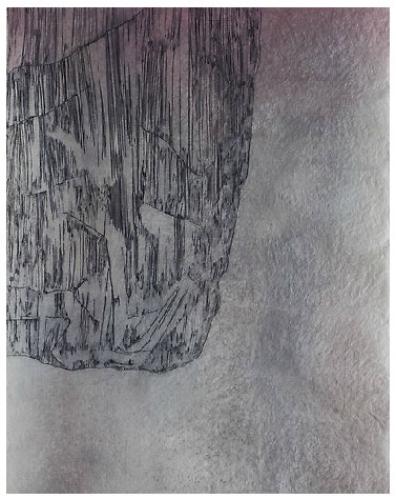 "Edge Dweller (red) , drypoint, 54"" x 44"" 2015"