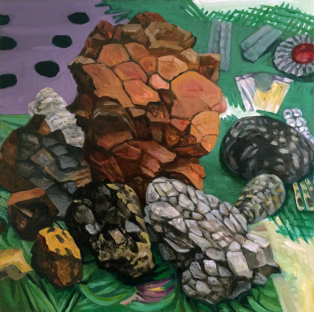 "Collection (Rocks) , oil on panel, 12"" x 12"" 2016"