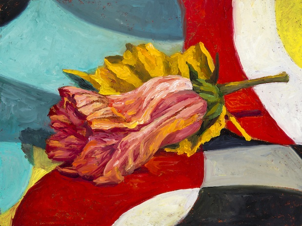 "Fallen Blossom , oil on paper on board, 6"" x 8"" 2014"
