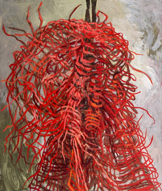 "Red Net , oil on board, 14.25"" x 12"" 2014"