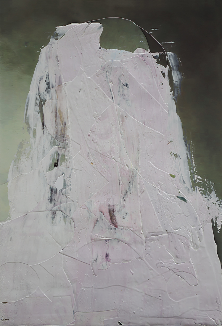 "Untitled (Portrait #1) , acrylic and collage on archival photograph, 18"" x 12"" 2010"
