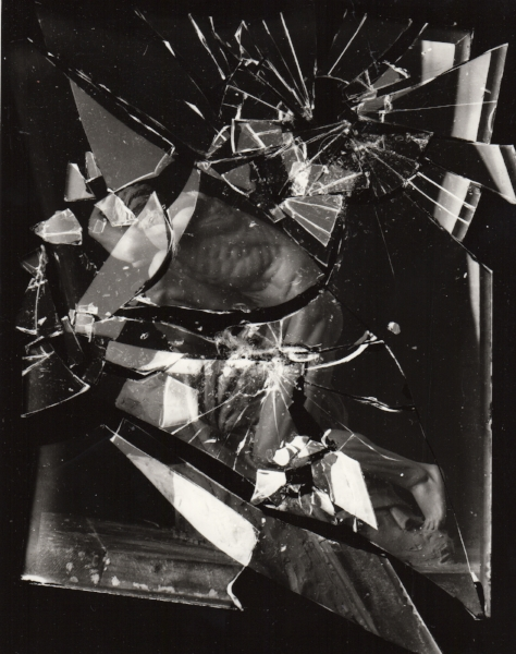 "Randy Grskovic, Memory 1, silver gelatin print from smashed negatives formerly of the British museum archive, 24"" x 20"", 2016"