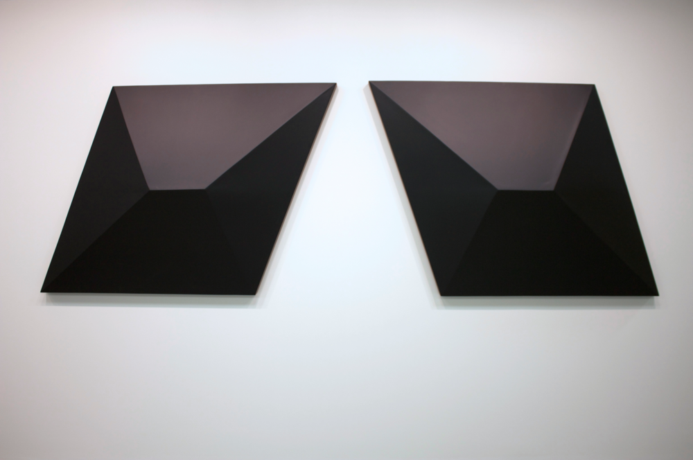 "Heather Ramsdale,  Series 2,  wood, tileboard, paint, 60"" x 60"" x 8"" each 2015"