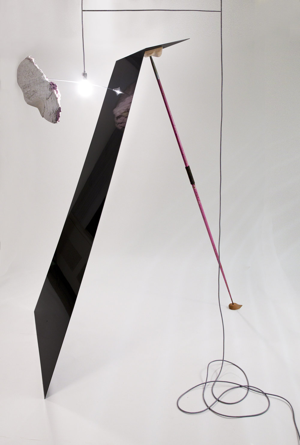 "Sarah Anderson,  Hanging Man 1 , dibond, throwing javelin, sculpture remnant, wood, aluminum, cord, lightbulb; Hanging Man fragment: fresco over foam, 66"" x 72"" x 96"" 2015"