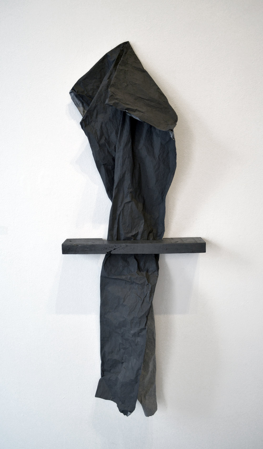 "Matt Neff,  Untitled,  tracing paper, graphite, wood, 28"" x 72"" 2014-present"