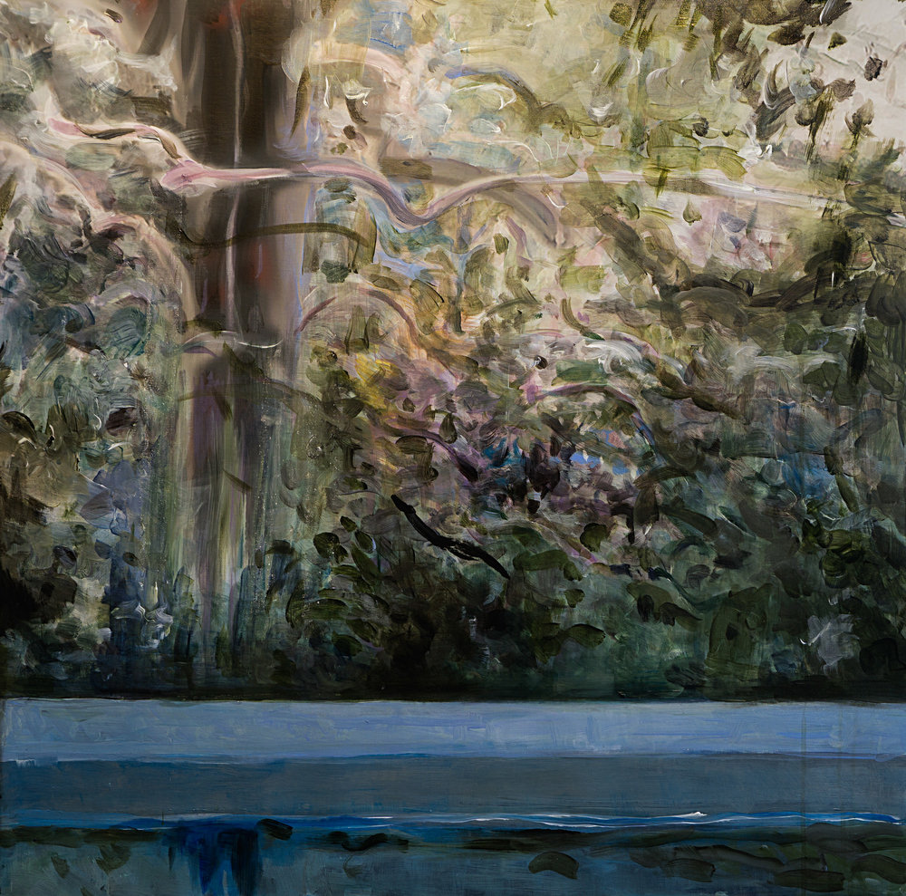 "Pool With Jungle Day , acrylic on canvas, 32"" x 32"" 2016"