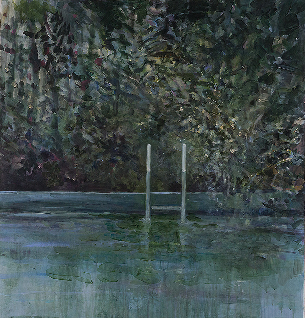 "Costa Rica Pool Painting #1 , acrylic on canvas mounted on panel, 33.5"" x 32"" 2016"