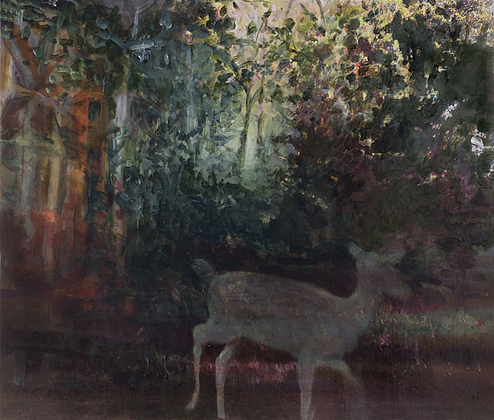 "Deer 1 , acrylic on canvas mounted on panel, 32"" x 37"" 2016"