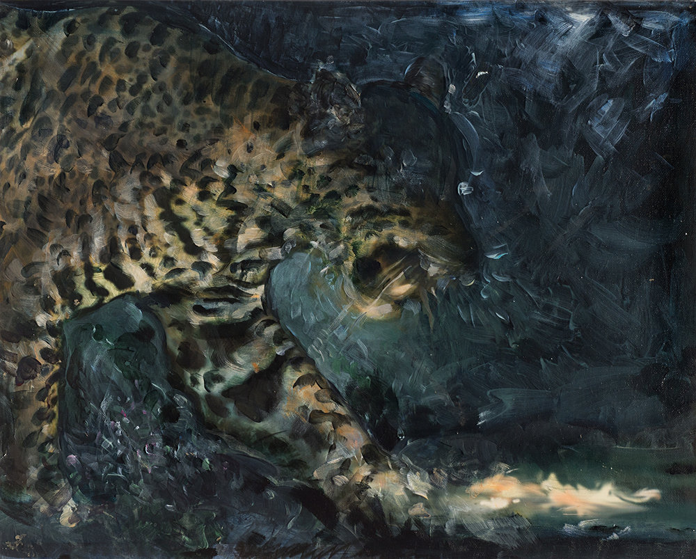 "Leopard 3 , acrylic on canvas mounted on panel, 16"" x 20"" 2016"