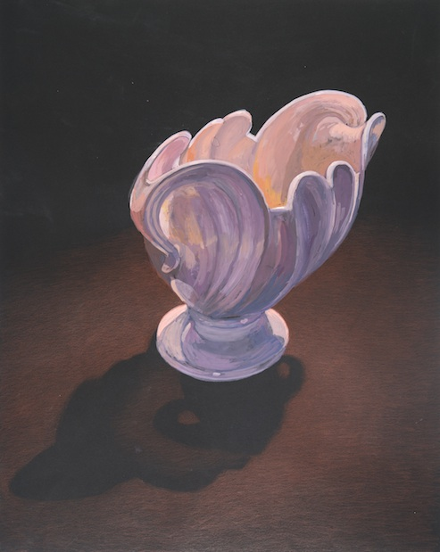 "Pink Vase , gouache on black paper, 19"" x 15"" 2013"