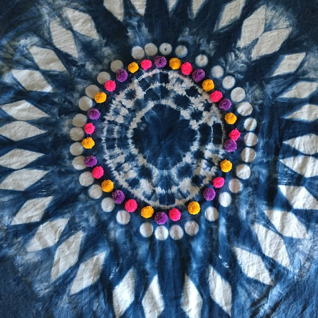 Peta Morris Artist Made this shibori dyed & embroidered bedspead