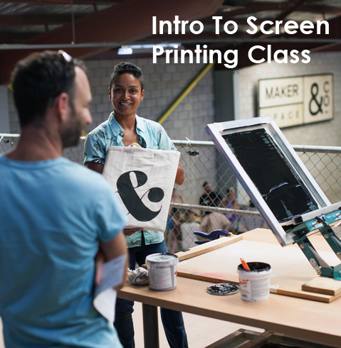 Intro to screen printing workshop at Makerspace & Co